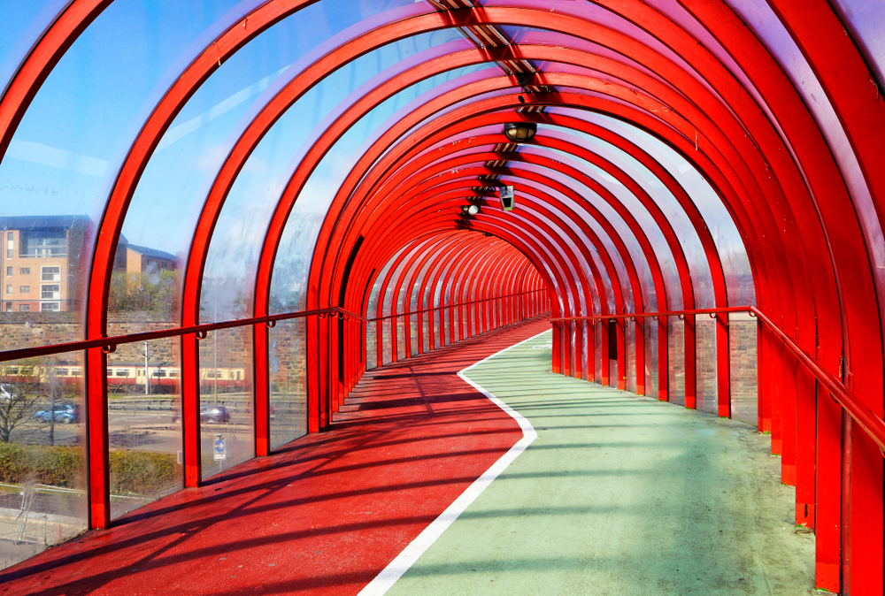 Interior,Of,The,Red,Pedestrian,And,Cycle,Bridge,In,Glasgow