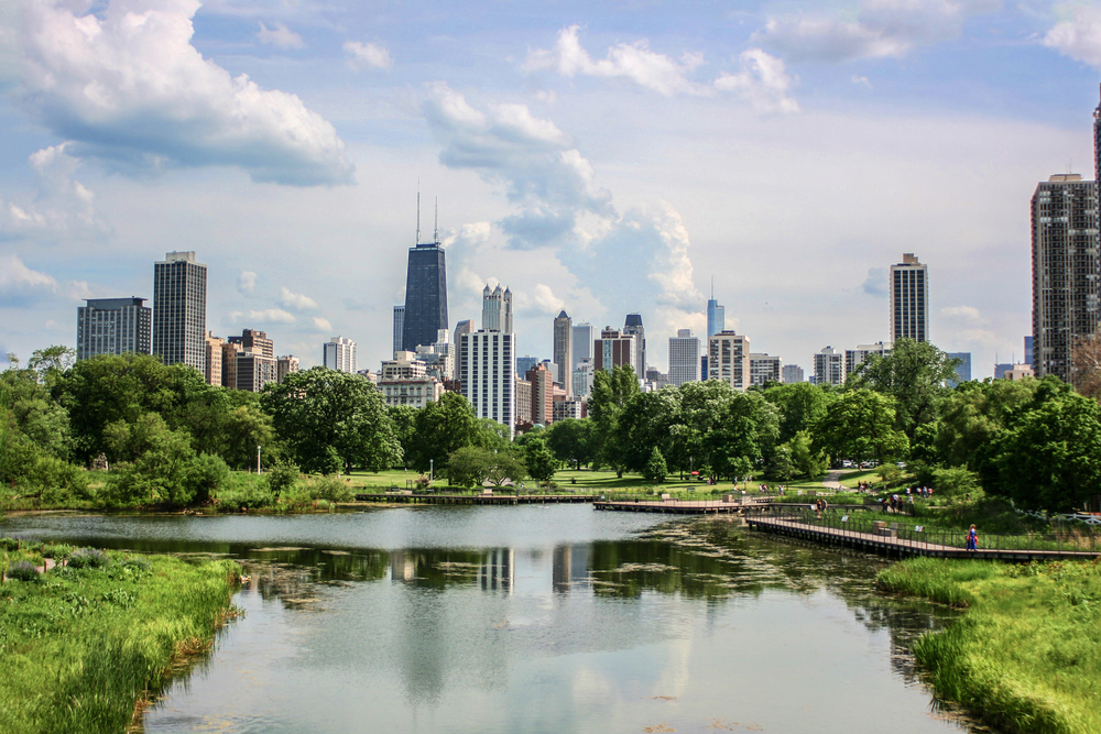 Chicago,Skyline,View,From,Lincoln,Park