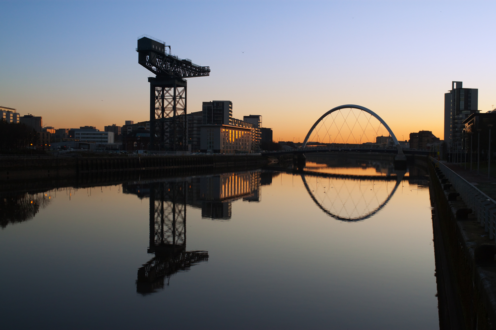 Finneston,Crane,And,The,Clyde,Arc,Bridge,In,Glasgow,In